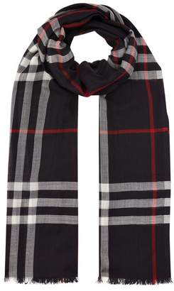 Burberry Lightweight Wool and Silk Check Scarf