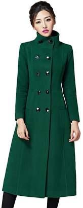 Chickle Women's Double Breasted Lapel Walker Long Wool Coat M