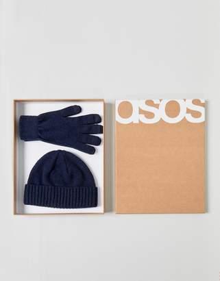 Asos DESIGN Lambswool Fisherman Beanie & Gloves Boxed Gift Set In Navy