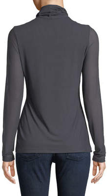 Neiman Marcus Mesh-Trimmed Turtleneck Illusion Sweater