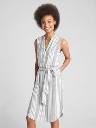 Gap Sleeveless Stripe Midi Shirtdress in Linen