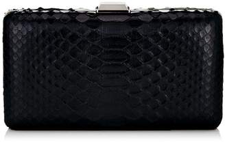 Jimmy Choo CLEMMIE Black Shiny Python Clutch Bag