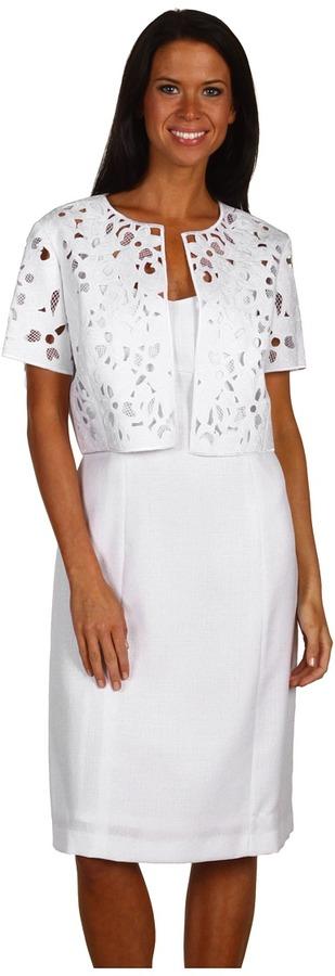 Tahari by Arthur S. Levine Tahari by ASL - Kellianne Linen/Lace Jacket Dress (White) - Apparel