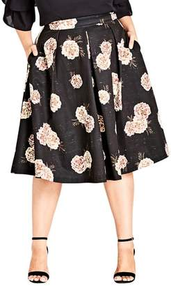 City Chic Rose Print A-Line Skirt