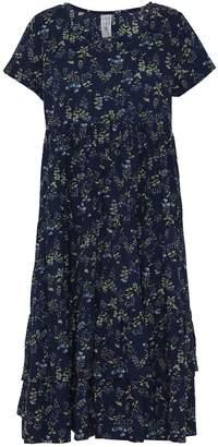 Mcverdi Blue Summer Dress With Flower Print & Ruffles