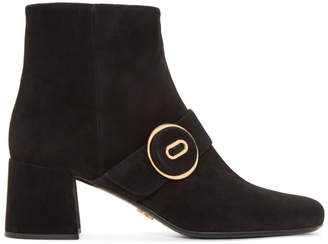 Prada Black Suede Button Boots
