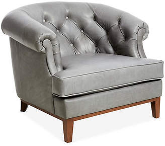 One Kings Lane Wilshire Accent Chair - Pewter Leather
