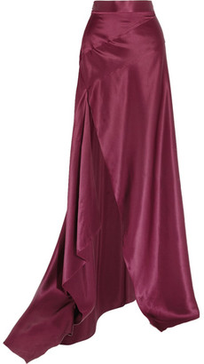 Michael Lo Sordo - Empress Asymmetric Silk-satin Maxi Skirt - Merlot
