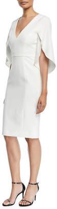 Milly Jana Butterfly-Sleeve Cady Sheath Dress