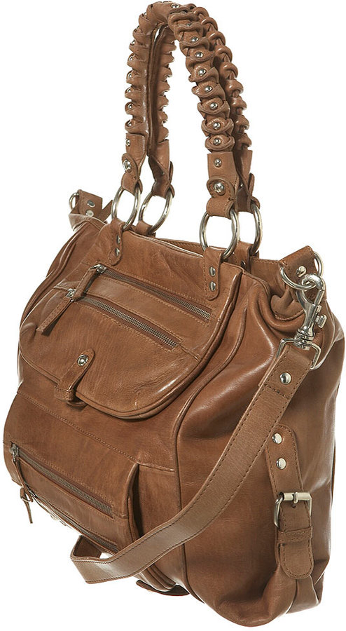 Leather Stud Handle Shopper