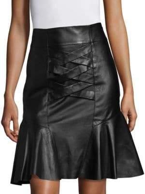 Derek Lam 10 Crosby Lace-Up Peplum Leather Skirt