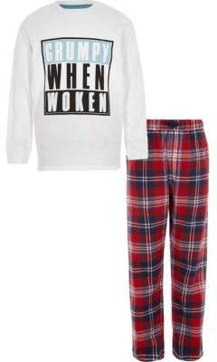River Island Boys white 'grumpy when woken' pajama set