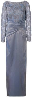 Tadashi Shoji lace constructed gown
