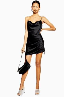 Topshop TALL Ruched Mini Satin Slip Dress