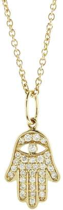 Sydney Evan Mini Pavé Hamsa Charm Necklace - Yellow Gold