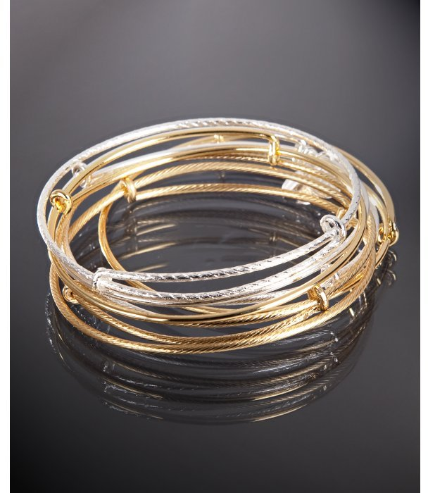 Alex and Ani set of 7 - gold and silver expandable wire bangles