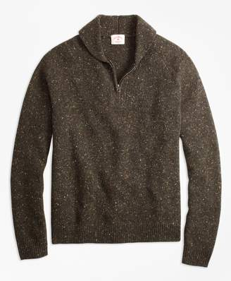 Brooks Brothers Wool-Alpaca-Blend Shawl-Collar Half-Zip Sweater