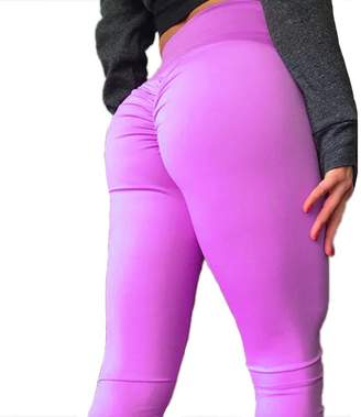 CFR 2018 New Sexy Women Ruched Fitness Leggings Butt Push up Lifted Yoga Pants High Waist Tummy Control Workout Sport Tights Melange Gray