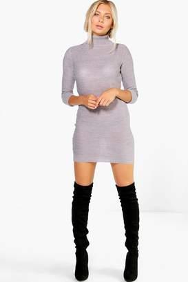 boohoo Roll Sleeve Knitted Dress