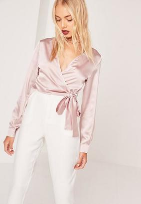 Long Sleeve Satin Wrap Front Crop Pink $36 thestylecure.com