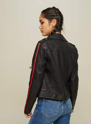 Miss Selfridge Black side stripe leather look biker jacket