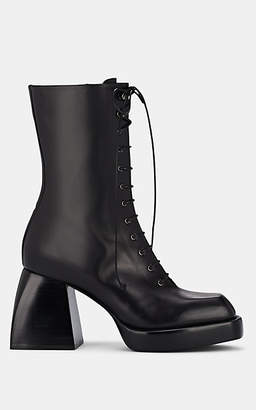 NODALETO Women's Bulla Leather Lace-Up Mid-Calf Boots - Black
