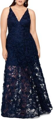 Xscape Evenings 3D Lace V-Neck Evening Dress