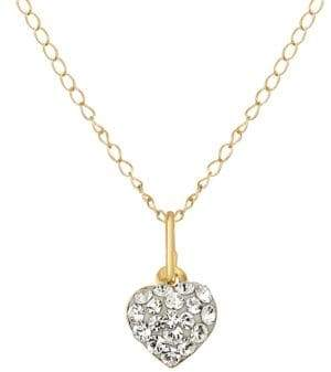Lord & Taylor Crystal and 14K Yellow Heart Necklace