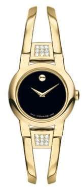Movado Amorosa Diamonds, Gold & Stainless Steel Bangle Bracelet Watch
