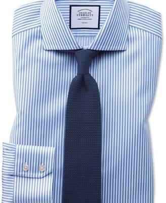 Charles Tyrwhitt Extra slim fit non-iron cutaway collar sky blue twill stripe shirt