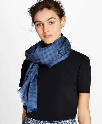 Brooks Brothers Gingham Cotton-Silk Oblong Scarf