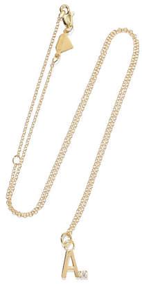 Alison Lou Letter 14-karat Gold Diamond Necklace