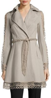 Elie Tahari Kathy Lace Inset Trench Coat $598 thestylecure.com