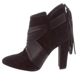 Oscar de la Renta Suede Semi Pointed-Toe Booties