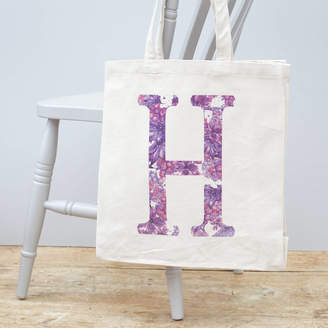 Jonny's Sister Personalised Floral Initial Canvas Bag