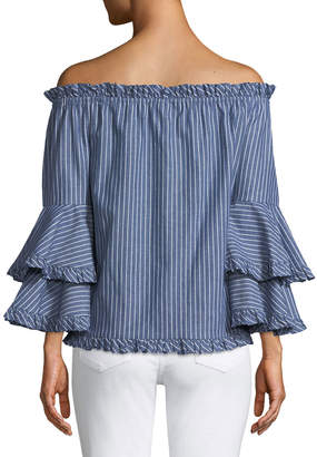 5twelve Off-The-Shoulder Double-Ruffle Cuff Blouse