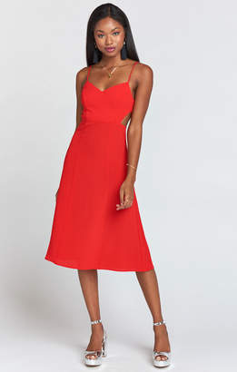 Show Me Your Mumu Claire Cutout Dress ~ Tango Red Crinkle Stretch