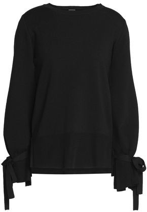 Bow-Detailed Knitted Wool Top