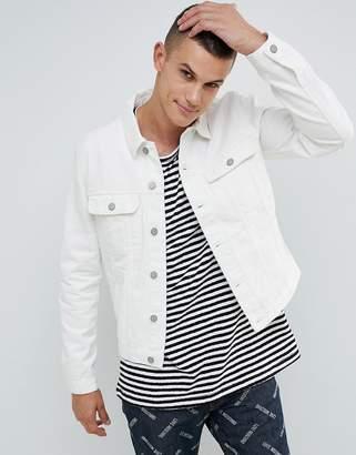 Asos DESIGN denim jacket in white