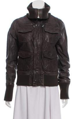 Line Leather Zip-Up Jacket