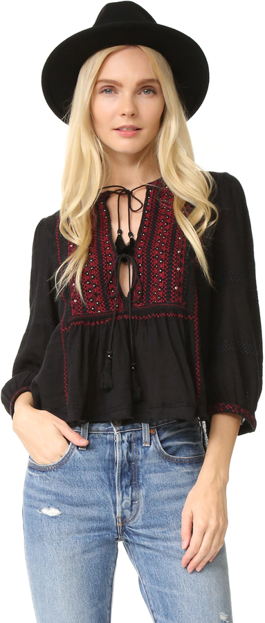 Free People The Wild Life Embroidered Top