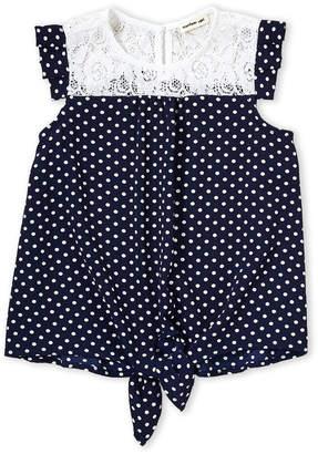 Monteau Girl (Girls 4-6x) Navy Polka Dot Tie-Front Top