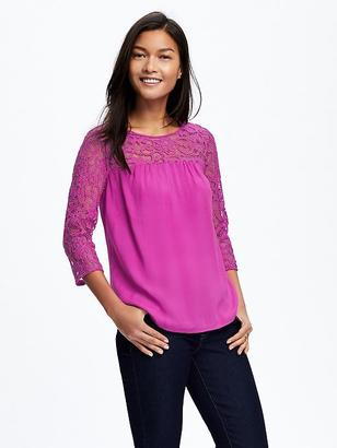 Relaxed Lace-Trim Blouse for Women $32.94 thestylecure.com