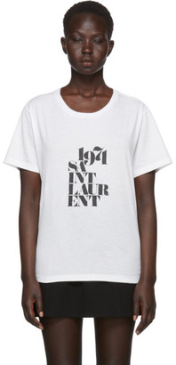 Saint Laurent White 1971 Logo T-Shirt