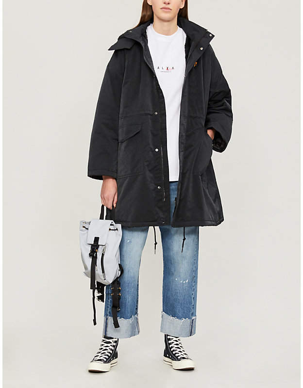 Drawstring-waist faux-fur lined shell coat