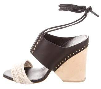 Thakoon Leather Square-Toe Sandals