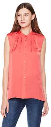 Essentialist Women's Silky Shine Sleeveless Band Collar Shell Top