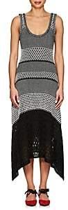 Proenza Schouler Women's Handkerchief-Hem Mixed-Stitch Dress-Black