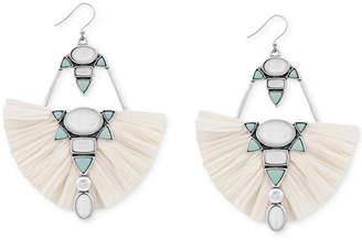 Lucky Brand Silver-Tone Stone & Raffia Drop Earrings