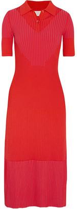 Maison Margiela - Ribbed Stretch-knit Midi Dress - Red $1,650 thestylecure.com
